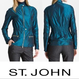 St. John Yellow Label Tech Taffeta Blue Jacket L